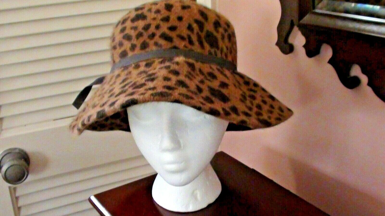 Ladies Merona Leopard Print Wide Brim Brown Ribbon Fashion Hat Polyester