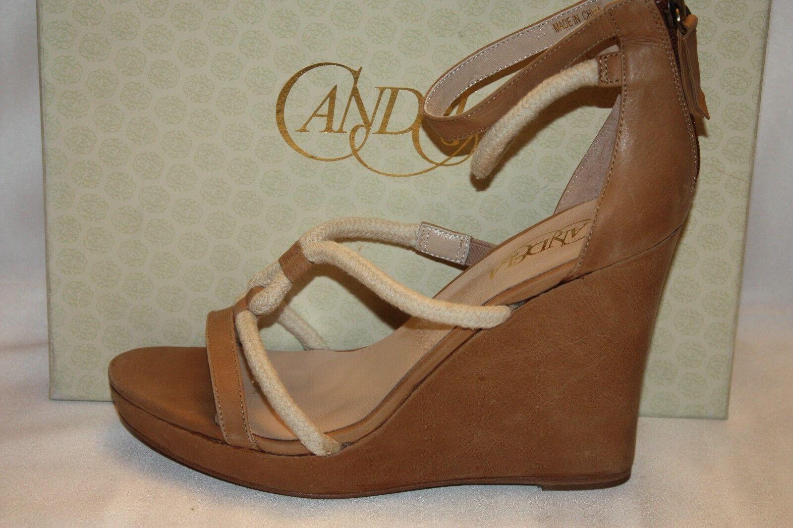 NEU  NIB  CANDELA Natural Tan Leder Rope Ankle Strap Wedge Sandales 9.5 265
