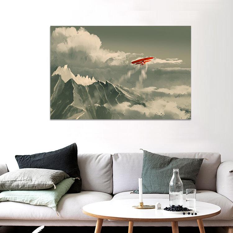 3D Wolken Rote Flugzeug Berg 94 Fototapeten Wandbild BildTapete AJSTORE DE Lemon