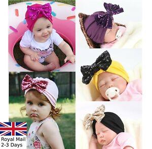 Baby-Girls-Sparkling-Bow-Turban-Head-Wrap-Cute-Kids-Ear-Hat-Cotton-Cap