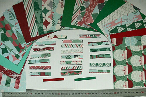 """20 Varied 3/"""" Strips SingleSided CHRISTMAS MEMORIES 25 Sheets 6x6 Papers"""