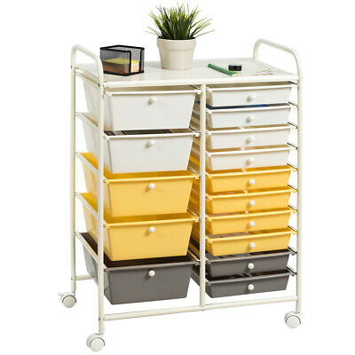 15-Drawer Rolling Trolley Mobile Storage Cart Tools ...