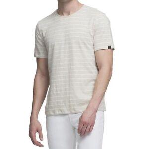 DKNY-Oatmeal-Heather-Beige-Men-039-s-Size-Large-L-Striped-Tee-T-Shirt-49-806