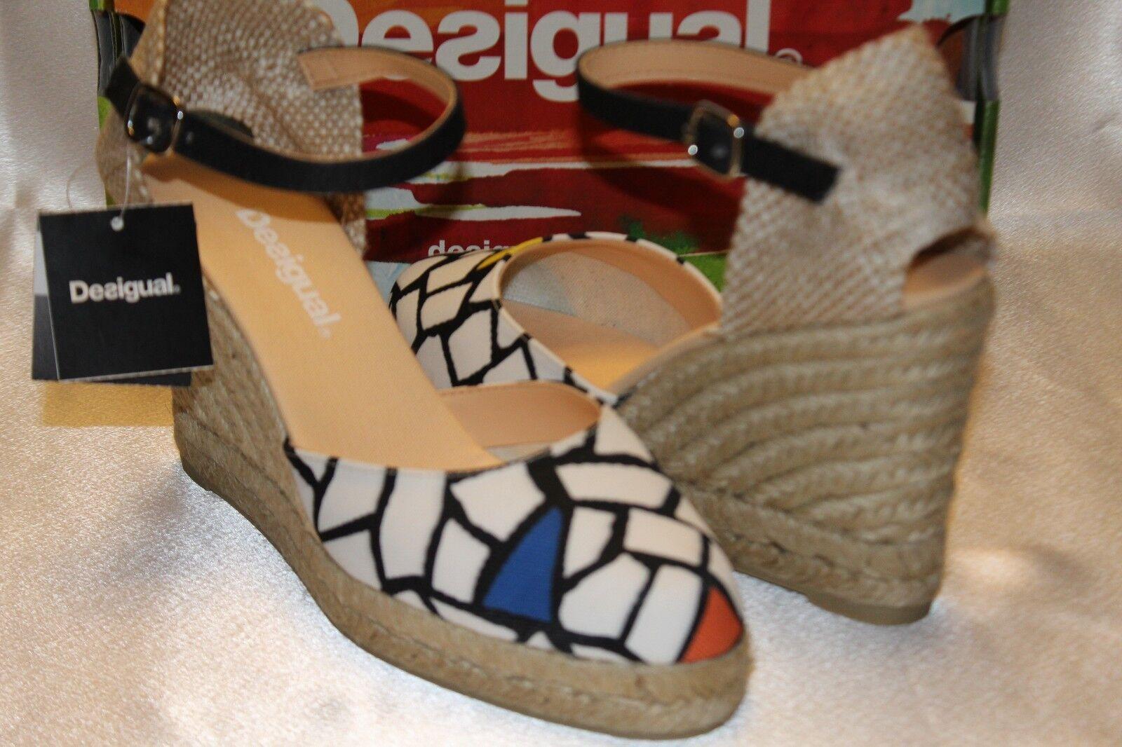 NEW  NIB  DESIGUAL Multi black SABADO Canvas Wedge Espadrille Sandal 7.5 8