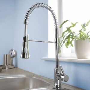 Kitchen Mixer Tap Brass Modern Monobloc With Pull Out Hose Spray