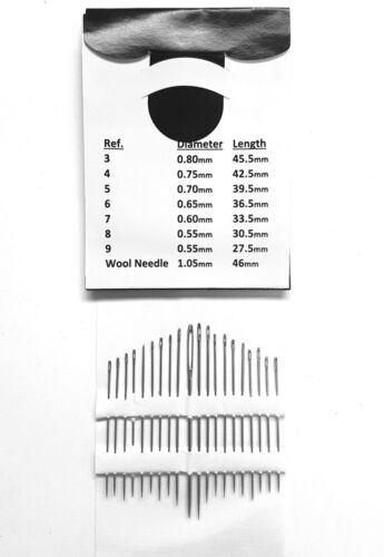Hand Sewing Needles Assorted Silver Steel Mending Craft Quilt Sew 60 PCS UK