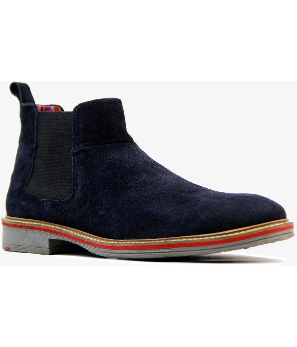 NEW MOD RETRO INDIE 60s MENS SUEDE CHELSEA Stiefel with tipped sole NAVY M611CS