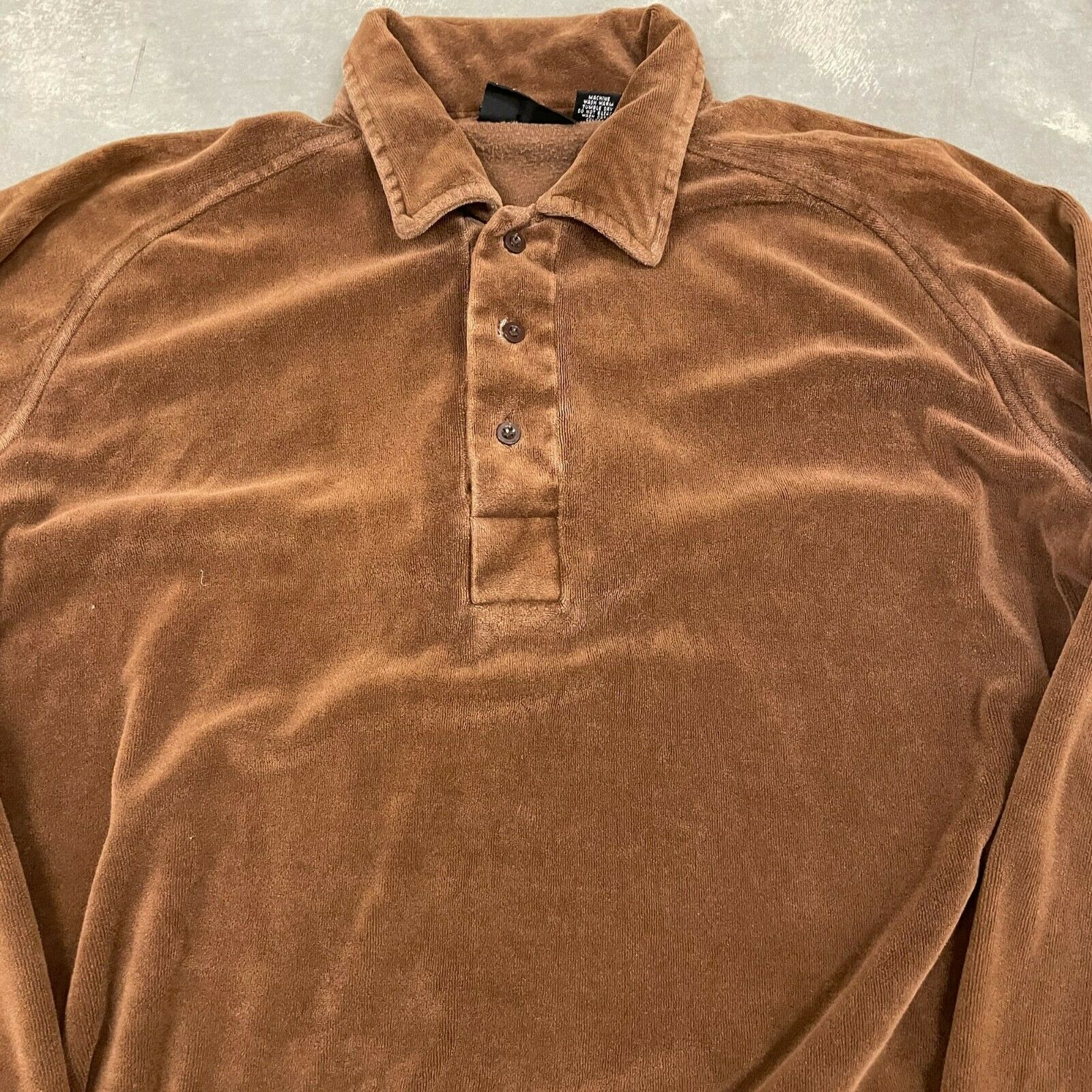70s VTG Brown Velour Polo Pullover Sweater Cool X… - image 2