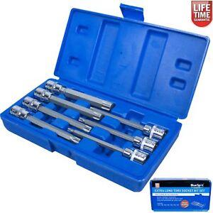 Extra-Lange-Reichweite-TORX-STAR-Buchse-Set-Key-7-PC-3-8-Zoll-Laufwerk-Blue-Spot-01514