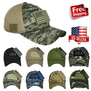 5b95f0dd287c5 US American USA Flag Baseball Cap Trucker Army Tactical Hip Hop CAMO ...