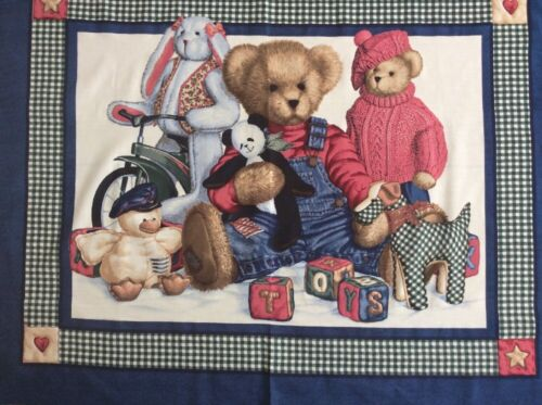 Teddy Toys Quilt // Wallhanging Panel Fabric Daisy Kingdom Creative Springs