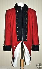 Revolutionary War Colonial Fife & Drum Frock Red w/Blue Collar Cuffs - Size 46