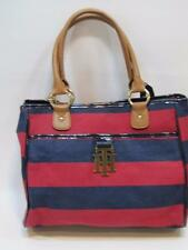 NWT Womens TOMMY HILFIGER Red & Navy Striped Large Handbag Purse