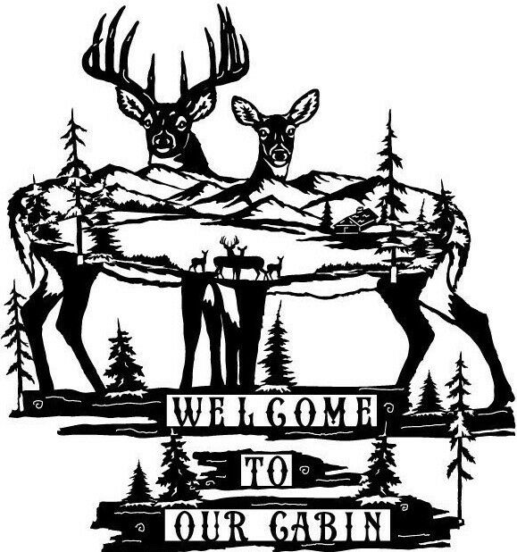 Welcome To Our Cabin Deer Scene Metal Art Outside