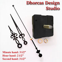 (07) Quartz Clock Movement 3/4 Threaded Long Shaft, Quiet Motor & 3.5 Hand
