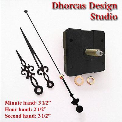 """HANGER /& 3.5/"""" hand #07 Quartz Clock kit 3//4/"""" threaded LONG SHAFT quiet motor"""