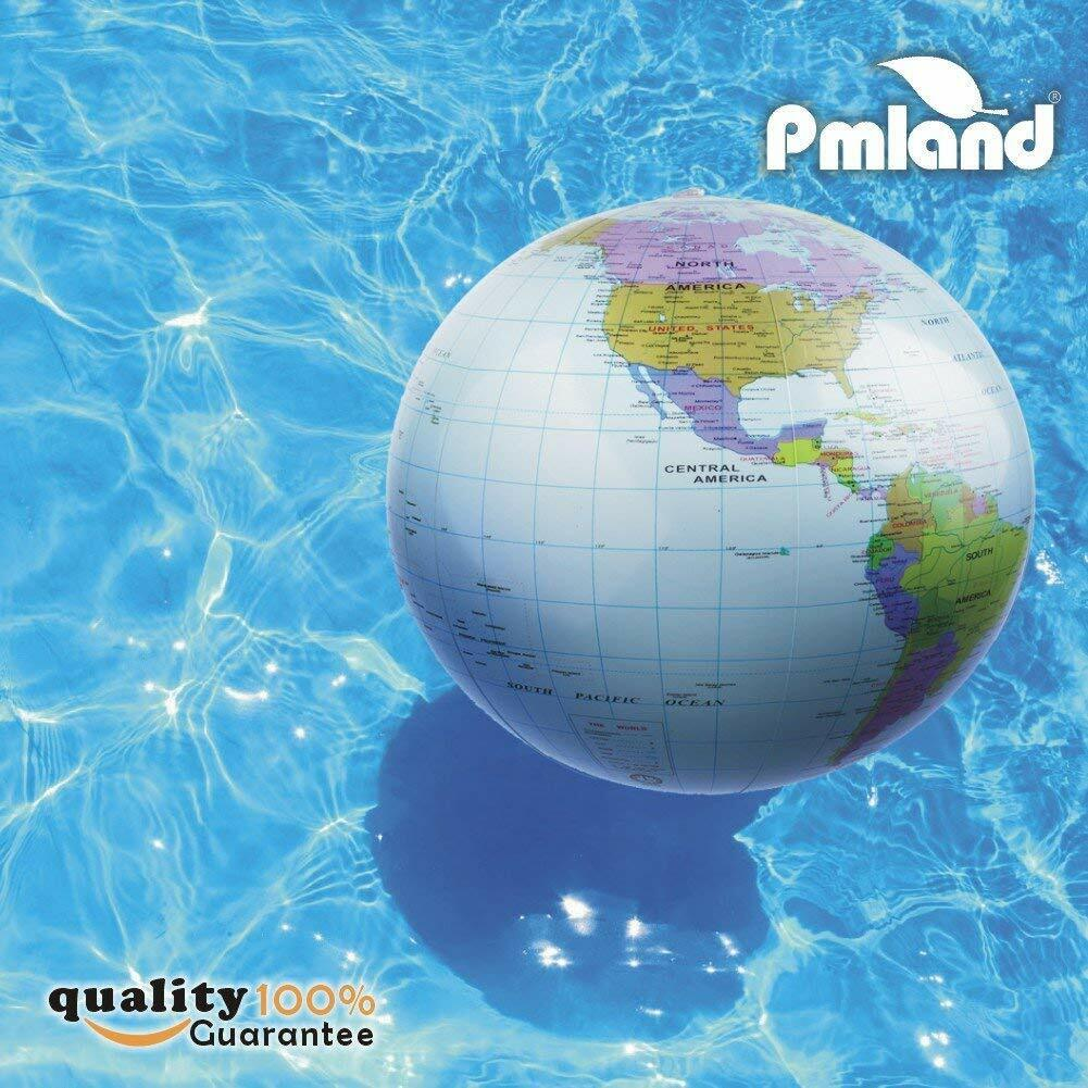Inflatable World Globe Beach Educational Balls 6-counts Light Blue by PMLAND 14-16 inch