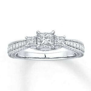 Sterling-Silver-925-3-Stone-CZ-Princess-Cut-Fashion-Engagement-Women-039-s-Ring-4-10