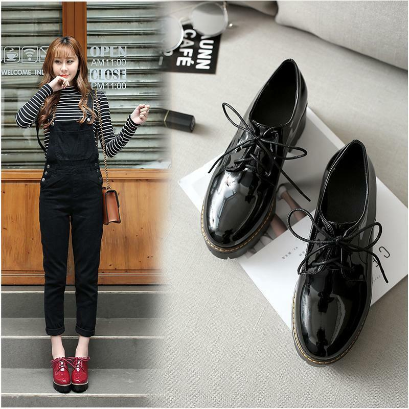 Women's Brogue Lace Up Platform Chunky Heel shoes Oxfords Pumps Wing Tip shoes
