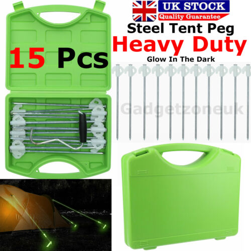 Glow In The Dark Heavy Duty Pegs Hard Ground Tent Peg Awning Pegs Case of 15 PEG