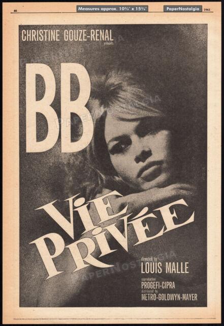 Vie Privee__A Very Private Affair__Orig. 1961 Trade AD / poster__BRIGITTE BARDOT