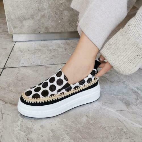 Details about  /Women/'s Fashion Horse Hair Polka Dot Platform Slip On Creeper Shoes LoaferA daey
