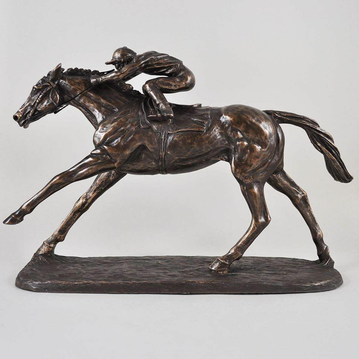 Flat Race Horse and Jockey Statue Sculpture Ideal Equestrian Gift