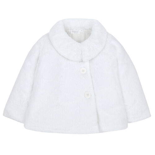 Infant Girls Coat Jacket Fluffy Warm Winter Buttons Padded Outerwear Faux Fur