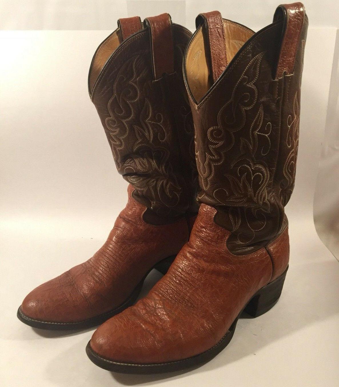 Vintage Cuero Marrón Justin Western Cowboy botas Tamaño 7.5 hecho en los E.e.u.u. Point Toe