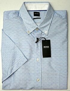 NWT-115-Hugo-Boss-Blue-White-Stripe-Shirt-Short-Sleeve-Mens-M-L-XL-Regular-Fit