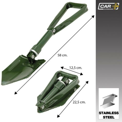 Sumex GREEN Folding Heavy Duty Stainless Steel Portable Snow / Dirt Spade Shovel