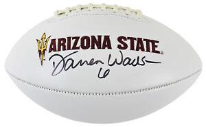 ASU Darren Woodson Authentic Signed White Panel Logo Football BAS Witnessed