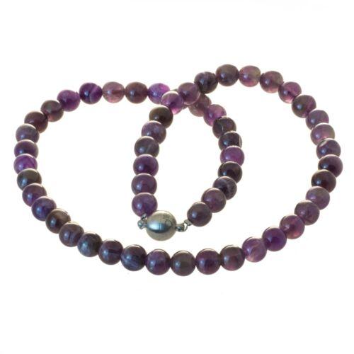 Perlenkette Edelstein Perlen Amethyst 8 mm glänzend Edelstahl Magnetverschluss