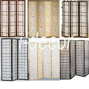 4 3 Panel Wood Shoji Room Divider Screen Oriental eBay