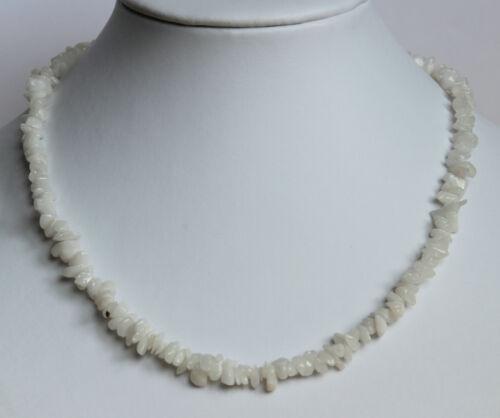 Weiss Achat Edelsteinkette ca,45cm Splitterkette Halskette Milchachat Collier