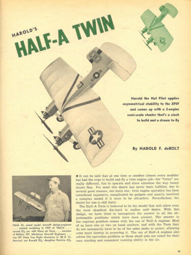 "UC Model Airplane Plans dmeco/'s HALF-A TWIN 26/""ws for twin .049/'s"