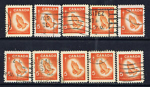Canada-452-1-1966-5-cent-CHRISTMAS-Praying-Hands-10-Used