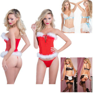 73e4016b631 Xmas Sexy Women Maid Bride Fancy Outfit Santa Nightwear Sets ...