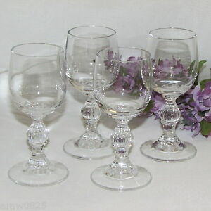 LIQUEUR-GLASSES-LOT-OF-4-CORDIAL-2-oz-GOBLETS-BALL-STEM-VERTICAL-LINES-BARWARE