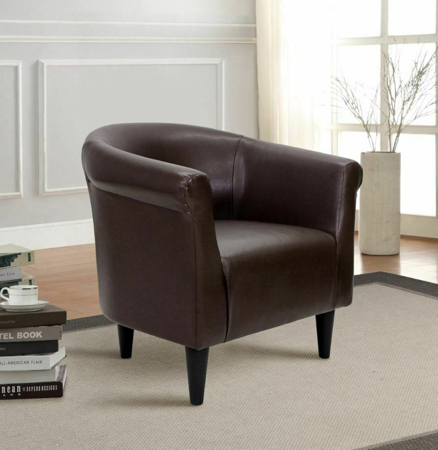 Tub Accent Chair For Living Room Contemporary Bucket Faux Leather Brown  Bedroom