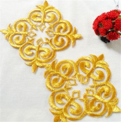 FD3776 Elegant Square Lace Trim Patch Embroidered DIY Collar Dress Patch 2PCs ☆