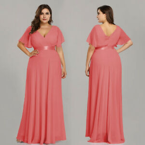 Details about Ever-Pretty Plus Long V-neck Bridesmaid Dresses Formal Coral  Evening Gown 09890