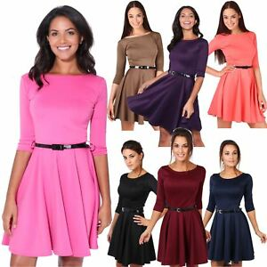 f9e762aa74 Women Belted Fit And Flare Skater Dress 3 4 Sleeve Tea Summer Party ...