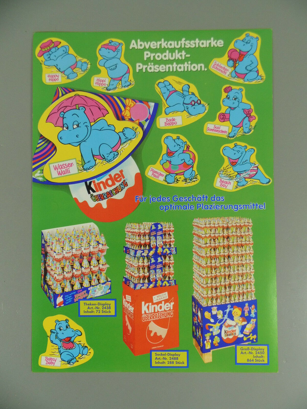 Hat  ADgreen Flier Hat Happy Hippos 1988 - greenreterneu