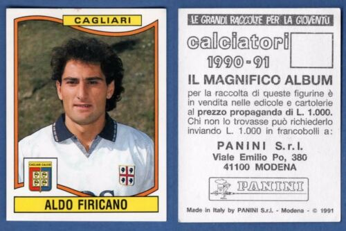 66 FIRICANO NUOVO//NEW N FIGURINA CALCIATORI PANINI 1990//91 CAGLIARI