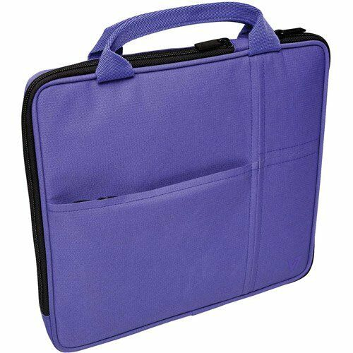 V7 Attache Slim Case for iPad 1 iPad 2 Purple 4 Compartments Pockets Sections