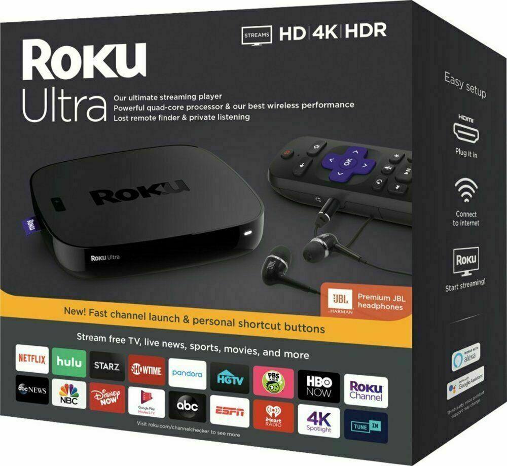 Roku Ultra Streaming Media Player 4K/HD/HDR 2019 with Premium JBL Headphones NEW headphones jbl media new player premium roku streaming ultra with