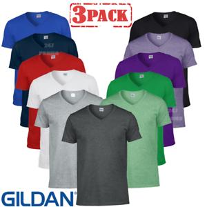 3 MEN/'S T-SHIRT GILDAN V-NECK SOFT TOUCH COTTON SUMMER TOP T-SHIRTS WHOLESALE