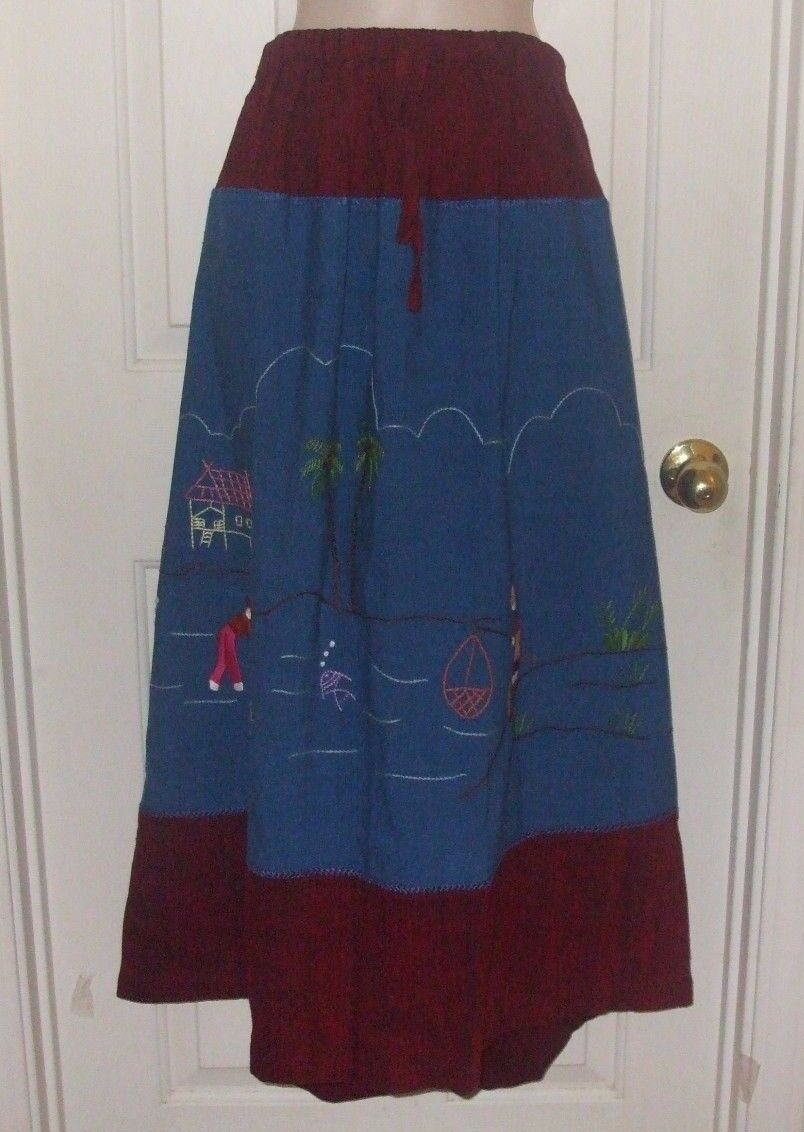 New ISAN XL-L-M Hand Woven Cotton Made in Thailand Red bluee Women's Ethnic Skirt