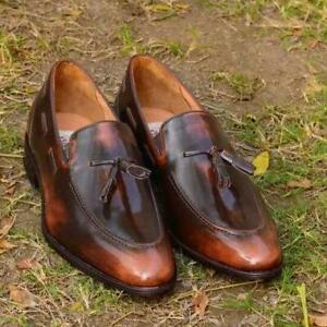 Men-039-s-Handmade-Tasseled-Loafers-Casual-Formal-Party-Calf-Skin-Leather-Shoes